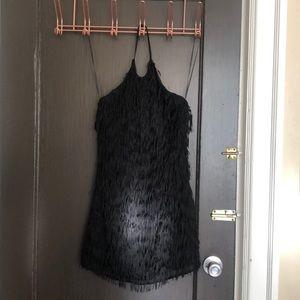 FUN backless halter fringe dress